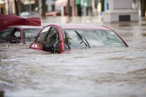 A flooded car on the main street of Cockermouth.