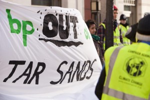 As part of the days proceedings, a cycle protest stopped outside the headquarters of BP to protest about their support for the tar sands.