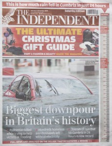 The front page of the Independent.