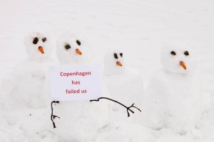 Snowmen show their displeasure at the failure of the Copenhagen summit.