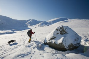 Mike Withers cross country skiing on Great Dodd, Lake District, UK.