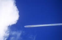 sky;blue;flight;jet;aviation;travel;flying;Fossil-fuels;emissions;C02;carbon-dioxide;climate-change;global-warming;vapour-trail;contrail