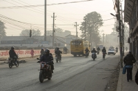 Kathmandu;Nepal;street;road;vehicle;emissions;motorbike;car;bus;exhaust;exhaust-fumes;fumes;air-quality;air-pollution;smog;smoggy;unhealthy;electricity-wires