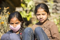 Nepal;Asia;girl-face;red;pink;clothing;portrait;brown;skin;teenager;young;youth;friends;group;face-mask