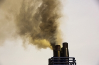 Holland;Ijmuiden;ferry;North-sea;ship;boat;exhaust;chimney;smoke-stack;emissions;pollution;air-pollution;marine-diesel;filthy;black;smoke;climate-change;global-warming;C02;greenhouse-gas;carbon-footprint;passenger-ferry