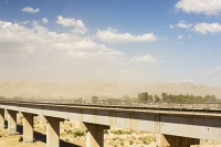 USA;US;America;California;Mojave-Desert;desert;sand;dry;scrub;bush;vegetation;tumble-weed;sky;cloud;dust;dusty;air-pollution;dust-storm;drought;climate-change;global-warming;bridge;railway;railroad