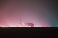 weather;fog;foggy;fog-bound;stuck;plane;jet;travel;C02;emmissions;carbon-dioxide;greenhouse-gas;flight;budget-airline;airline;runway;lights;disruption;disrupted;affects;extreme-weather;winter;visibility;poor-visibility