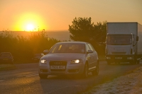 sun;sunrise;dawn;morning;road;car;van;traffic;A66;trunk-road;a-road;main-road;driving;transport;sky;warm;glow;light;emmissions;carbon;Co2;exhaust;climate-change;global-warming