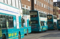 UK;loughborough;leicestershire;road;travel;transport;public-transport;bus;coach;efficient;double-decker;carbon-footprint;environment;global-warming;climate-change;modern;carbon-emmissions;bus-stop;bus-station;queue;destination;traffic-jam