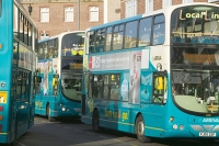 UK;loughborough;leicestershire;road;travel;transport;public-transport;bus;coach;efficient;double-decker;carbon-footprint;environment;global-warming;climate-change;modern;carbon-emmissions;bus-stop;bus-station;queue;destination;traffic-jam;Arriva;franchise;public-service;subsidy;subsidised