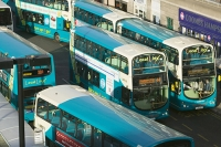 UK;loughborough;leicestershire;road;travel;transport;public-transport;bus;coach;efficient;double-decker;carbon-footprint;environment;global-warming;climate-change;modern;carbon-emmissions;bus-stop;bus-station;queue;destination;traffic-jam;Arriva;franchise;public-service;subsidy;subsidised;Haymarket;sign;bus-stop;bus-shelter
