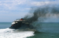 sea;boat;ferry;Heysham;UK;exhaust;fumes;pollution;emmissions;carbon;carbon-dioxide;pollution;polluting;shipping;environmental;damage;black;smoke;thick;choking