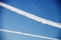 flight;fly;flying;aviation;travel;transport;jet;jet-engine;flight-path;contrail;vapour-trail;emissions;C02;carbon-dioxide;greenhouse-gas;atmosphere;sky;blue;upper-atmosphere;altitude;climate-change;global-warming;vapour;trail