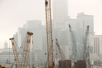 flat;house;tower-block;high-rise;Hong-Kong;skyscraper;architecture;tower;accomodation;China;smog;air-quality;pollution;pollution;air-pollution;visibility;skyline;city;urban;smoggy;building;building-site;construction;construction-site;economy;yellow;crane;ground-works;industry;heavy-industry