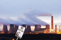 Ratcliffe-on-Soar;Leicestershire;cooling-tower;chimney;smoke-stack;coal;coal-fired;power-station;C02;carbon-dioxide;emissions;environment;climate-change;global-warming;pollution;dirty;coal-reserves;fossil-fuel;sky;cloud;industry;electricity;energy;power;Eon;energy;chimney;smoke-stack;greenhouse-gas;steam;sky;grey;orange;glow;dusk;sunset;protest;protesting;sign;banner;placard;global-warming;stop;no;new-coal