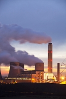 Ratcliffe-on-Soar;Leicestershire;cooling-tower;chimney;smoke-stack;coal;coal-fired;power-station;C02;carbon-dioxide;emissions;environment;climate-change;global-warming;pollution;dirty;coal-reserves;fossil-fuel;sky;cloud;industry;electricity;energy;power;Eon;energy;chimney;smoke-stack;greenhouse-gas;steam;sky;grey;orange;glow;dusk;sunset