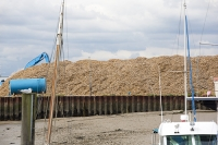 Brightlingsea;Essex;England;UK;coast;estuary;port;Thames;moored;mooring;boat;ship;yacht;sailing-boat;tidal;wood;wood-chips;import;export;harbour;port;biofuel;energy;power;carbon-neutral;shredded