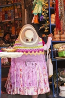 South-America;Bolivia;fabric;cloth;colourful;identity;pride;national;shop;for-sale;La-Paz;hat;dress;womn;large;fat;obese;obesity;pink;witch;witches-market;superstition;straw-hat