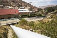 South-America;Bolivia;La-Paz;city;Andes;mountain;altitude;high;infrastructure;road;pipe;piping;hydro;hydro-electric;renewable;renewable-energy;HEP;power;energy;power-station;hydro-plant;plant;electricity;generating;climate-change;glacial-retreat;global-warming
