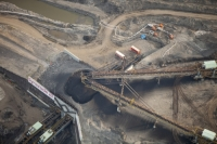 tar-sand;tar-sands;oil-sand;oil-sands;oil-industry;fossil-fuel;climate-change;global-warming;industry;heavy-industry;industrial;Athabasca;Alberta;Canada;destruction;pollution;contamination;contaminated;strip-mining;Fort-McMurray;sky;environment;environmental-destruction;carbon-footprint;statement;affected;Boreal-Forest;toxic;oil;bitumen;deposits;oil-reserves;emissions;carbon-footprint;energy;aerial;aerial-photograph;soil;overburden;conveyor;conveyor-belt