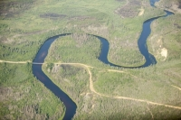 Athabasca;Alberta;Canada;Fort-McMurray;environment;Boreal-Forest;tree;woodland;carbon-sink;conifer;spruce;habitat;woodland;green;forest;river;water;curve;bend;sinuous;meander;meandering;aerial;aerial-photograph;bridge;track;road;winter-road