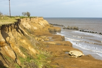 defences;sea;sea-defences;global-warming;sea-level-rise;erosion;coastal-erosion;glacial;till;deposits;beach;cliff;collapse;coast;Happisburgh;Norfolk;sea-defences;rapid-erosion;threat;vulnerable;edge;sea-level-rise;crumbling;soft