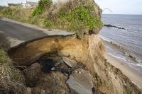 defences;sea;sea-defences;global-warming;sea-level-rise;erosion;coastal-erosion;glacial;till;deposits;beach;cliff;collapse;coast;Happisburgh;Norfolk;sea-defences;rapid-erosion;threat;vulnerable;edge;sea-level-rise;crumbling;soft;road;drop