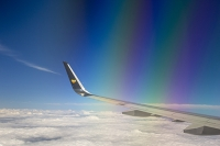 cloud;sky;travel;aviation;plane;airplane;jet;Manchester-Airport;UK;wing;plane-wing;aerial;cloud;plane-wing;rainbow;colour;refraction;window
