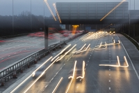 motorway;car;vehicle;climate-change;global-warming;M6;travel;transport;lane;markings;white-line;headlights;slow-shutter;motion-blur;movement;speed;speeding;dusk;evening;dark;rush-hour;congestion;congested;swerve;swerving