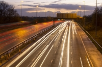 motorway;car;vehicle;climate-change;global-warming;M6;travel;transport;lane;markings;white-line;headlights;slow-shutter;motion-blur;movement;speed;speeding;dusk;evening;dark;rush-hour;congestion;congested