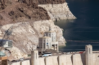 USA;US;America;Nevada;desert;Lake-Mead;electricity;generating;renewable;renewable-energy;carbon-neutral;climate-change;global-warming;pylon;HEP;hydro;hydro-power;drought;transmission;dam;dam-wall;concrete;ravine;rock;geology;road;overspill;overflow;intake-pipe;white;line;exposed;Hoover-Dam