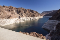 USA;US;America;Nevada;desert;Lake-Mead;electricity;generating;renewable;renewable-energy;carbon-neutral;climate-change;global-warming;pylon;HEP;hydro;hydro-power;drought;transmission;dam;dam-wall;concrete;ravine;rock;geology;white;line;exposed;Hoover-Dam