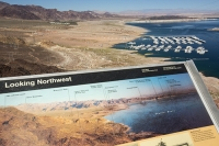 USA;US;America;Nevada;desert;Lake-Mead;climate-change;global-warming;drought;rock;geology;road;white;line;exposed;Hoover-Dam;marina;boat;jetty;wharf;photographm;compare;comparison