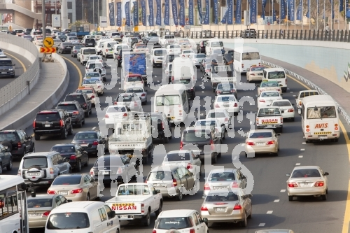 Cars in Dubai city in the Middle East