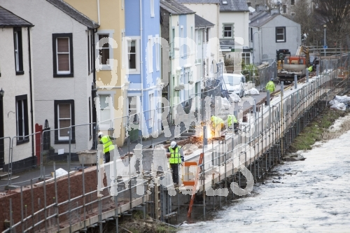 The new flood defences in Cockermouth, Cumbria, UK, being built after the disastrous 2009 floods that inundated large parts of the town.