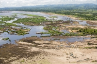 Malawi;Africa;flood;floods;flooding;African;disaster;climate-change;global-warming;refugee;Shire-Valley;destroyed;destruction;river-bank;eroded;erosion;washed-away;flood-debris;farming;agriculture;subsistence;Shire-River;aerial;aerial-photography;flood-debris;sand;tree;inundated;flood-plain;polluted;pollution