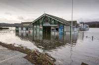 Floods;flooding;flooded;Ambleside;Cumbria;Lake-District;UK;weather;extreme-weather;climate-change;global-warming;deluge;torrential-rain;downpour;meteorology;low-pressure;weather-front;rain;raining;heavy-rain;precipitation;wet;sodden;surrounded;marooned;insuramnce;insurance-claim;pier;Ambleside-Pier;jetty