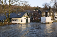 Floods;flooding;flooded;Ambleside;Cumbria;Lake-District;UK;weather;extreme-weather;climate-change;global-warming;deluge;torrential-rain;downpour;meteorology;low-pressure;weather-front;rain;raining;heavy-rain;precipitation;wet;sodden;Wateredge;surrounded;marooned;insuramnce;insurance-claim;Lakeside;picnic;cafe;white-van-man;white-van;van;vehicle;driving;driving-conditions