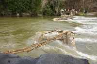 Floods;flooding;flooded;Cumbria;UK;weather;extreme-weather;climate-change;global-warming;deluge;heavy-rain;wet;sodden;flood-water;flood-waters;aftermath;Storm-Desmond;cost;flood-damage;Ullswater;lake;river;flooded-river;in-spate;bridge;collapsed;destroyed;cut-off;link;life-line;Pooley-Bridge;engineer;engineers;BT;British-telecom;communications;restore;River-Eamont