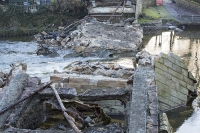 bridge;Pooley-Bridge;Lake-District;destroyed;floods;Storm-Desmond;Cumbria;UK;river;River-Eamont;collapsed;power;destruction;river;water-power;rubble;remains;cut-off;road;crossing;extreme-weather;climate-change;global-warming