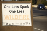 USA;US;America;California;brown;drought;dessicated;dried-up;Kern-County;Bakersfield;Central-Valley;Lake-Isabella;Kern-River;sign;red;warning;fire;wildfire;fire-restrictions;restrictions;spark
