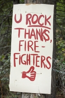 USA;US;America;California;drought;climate-change;global-warming;dried-up;wild-fire;bush-fire;house;escape;thank-you;King-Fire-El-Dorado-National-Forest;Georgetown;fire-fighter;tackling;you-rock;U