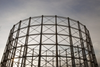 Newcastle;Tyneside;Byker;North-East;UK;gas;gasometer;gas-supply;Victorian;steel;skeleton;frame;fossil-fuel
