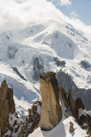 Chamonix;france;Alps;French-Alps;mountain;summit;Aiguille-Du-Midi;cable-car-station;cloud;mist;Mont-Blanc;glacier;crevasse;glacial-retreat;Glacier;climate-change;serac;global-warming;receding;retreating;snow;snow-pack;slope;steep;permafrost;permafrost-melt;cloudy;fog;foggy;misty;hole;window;vista;view;revealed;crevasse;Vallee-blanche;Mont-Blanc-summit;granite;Cosmiques-Arete;pinnacle;ridge