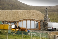 Harris;Isle-of-Harris;Outer-Hebrides;hebrides;Scotland;UK;green;modern;construction;green-roof;green-architecture;location;Scarista;detached;detached-house;blend-in;Scarista;holiday-home;thatch;thatched;thatched-roof;construction;white-van;builders-van