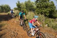 Sivota;Greece;mediterranean;conutryside;exercise;bike;cycling;mountain-bike;cyclist;tree;track-off-road;gravel;group;holiday;monutain-biking;ATB;balance;skill;riding;man;cycle-helmet