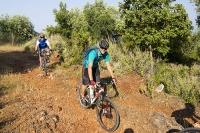 Sivota;Greece;mediterranean;conutryside;exercise;bike;cycling;mountain-bike;cyclist;tree;track-off-road;gravel;group;holiday;monutain-biking;ATB;balance;skill;riding;man;cycle-helmet