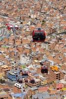 South-America;Bolivia;La-Paz;city;house;housing;dense;density;slope;hilly;Andes;mountain;altitude;high;infrastructure;cable-car;transport;cable;cabin;telecabin;lift;investment;modern;overcrowded;population;El-Alto