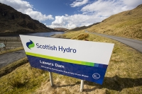 drop;gravity;hydro;HEP;hydro-electric-power;electricity;generation;renewable;renewable-electricity;carbon-neutral;dam;dam-wall;reservoir;mountain;remote;mountainous;hydro-dam;dammed;valley;Meall-nan-Tarmachan;Locha-na-Lairige;Lawers-dam;Scotland;UK;sign;Scottish-hydro