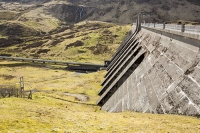 drop;gravity;hydro;HEP;hydro-electric-power;electricity;generation;renewable;renewable-electricity;carbon-neutral;dam;dam-wall;reservoir;mountain;remote;mountainous;hydro-dam;dammed;valley;Meall-nan-Tarmachan;Locha-na-Lairige;Lawers-dam;Scotland;UK